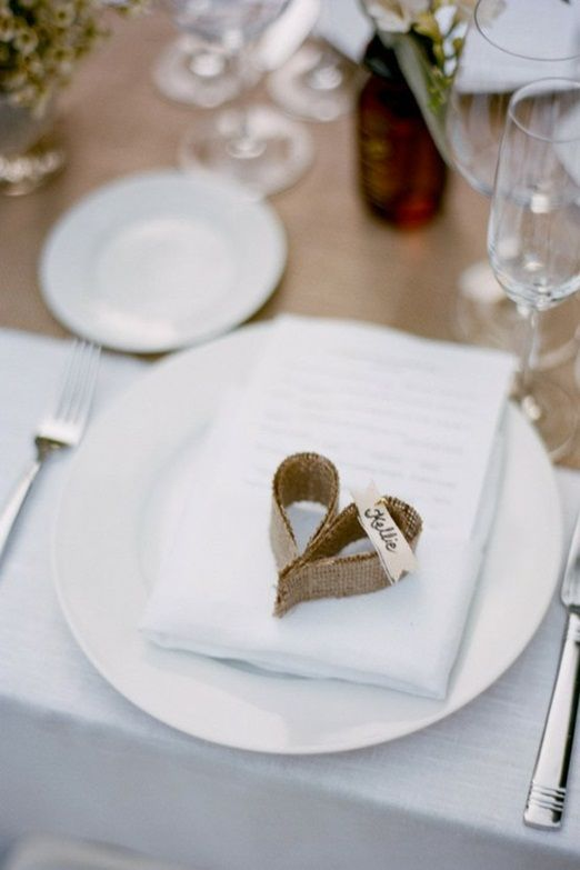 burlap hearts as place card. Don't even have to be place cards, but could be something cute to do with all the burlap you have!