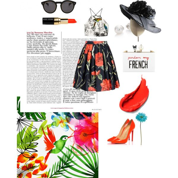Summer Fashion a la Paris by klaudiafraulein on Polyvore featuring polyvore fashion style Milly Dolce&Gabbana Christian Louboutin Cecilia Ma Mikimoto Heather Huey Illesteva Bobbi Brown Cosmetics Allstate Floral