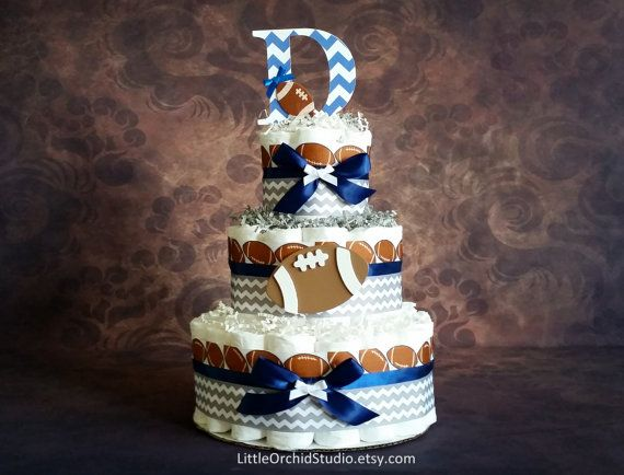 Football Diaper cake/ Chevron diaper cake/ by LittleOrchidStudio