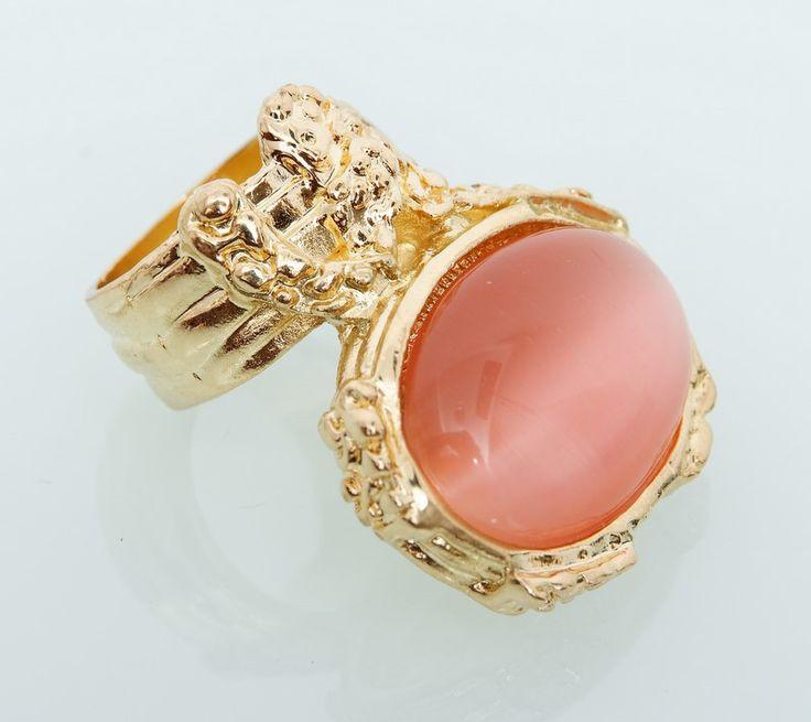 Кольцо YSL с оранжевым камнем кошачий глаз #18986