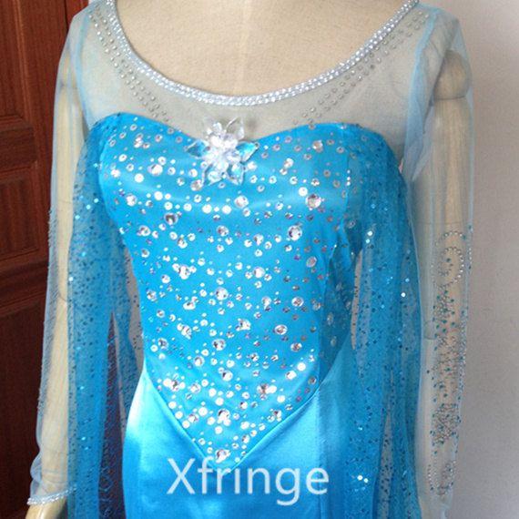 Elsa Dress Costume Elsa Elsa congelée robe Costume congelé Elsa Cosplay Disney surgelés vêtements Snow Queen Elsa Costume enfant taille adulte