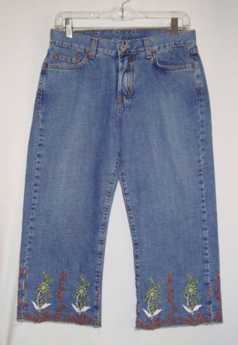 LUCKY-BRAND-Embroidered-Womens-Capri-Cropped-Jeans-Size-8-29