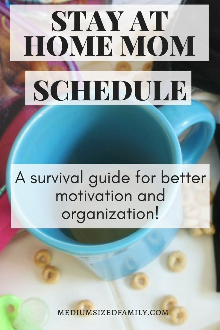 Stay at home mom schedule for cleaning and activities with tips you can use to survive long days with the kids. Find motivation and organization with a routine that will help you with the kids whether they're toddlers or teens.