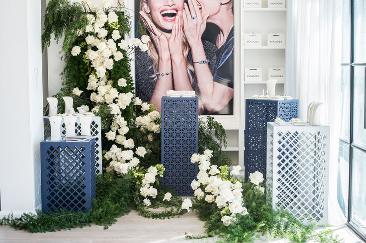Perforated metal display stands custom made with Arrow Metal perforated panels were the perfect essence of personal style for the launch of Pandora's new season jewellery collection. #specialevent #launchevent #pandora #arrowmetal #perforatedmetal #displaystands #metalstands #retail #uniquestands