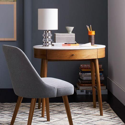 Penelope Mini Desk, Pecan/Marble