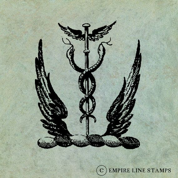Entwined Snakes with Wings  Antique Style by EmpireLineStamps