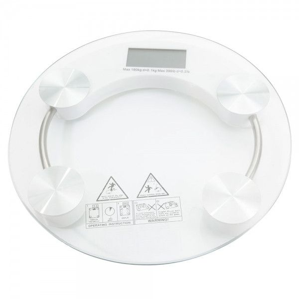 High Strength Toughened Glass 4-Digits LCD Display Electronic Scale Transparent & White