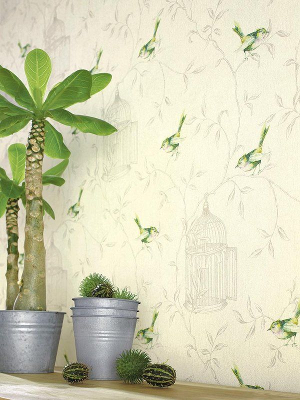 Papel pintado con estampas naturales #Decoracion de Paredes