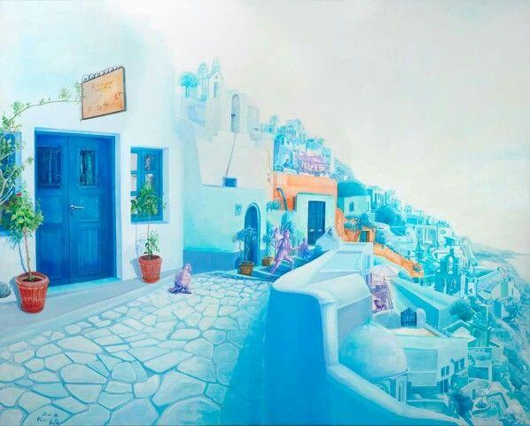 2013년부터 시작된 여행자 series는 낯선 사람들과의 공간 안에서 제각기 누리는 자유로움과 휴식을 취하는 카페의 풍경에서 비롯된다. 작가의 유일한 휴식안의 습관이었던 펜 스케치... 저 마다의 색 다른 카페의 향기는 행복한 상상으로 그녀의 작업 속에 또 다른 색깔로 옮겨지면서 뜻밖의 경험을 기대하게 한다.  여행자-파란대문, ,Acrylic on canvas, 130x162cm, 2013, 김정선