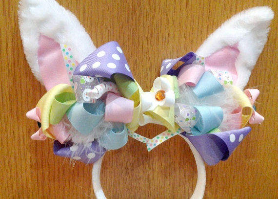 Girls Easter Headband  Easter Bunny Ears with by SpoiledLittleDiva, $14.99