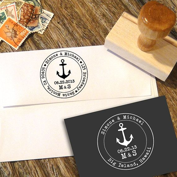 Nautical Anchor Cruise Ship Address Stamp or Save by Designkandy