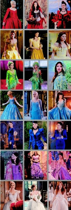 #OUAT Rainbow of Dresses---- I love how Belle is the only one for yellow when all the others have three different characters.