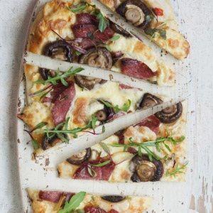 Slow roasted pork fillet pizza
