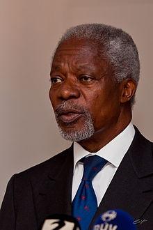 Kofi Annan. http://en.wikipedia.org/wiki/Kofi_Annan