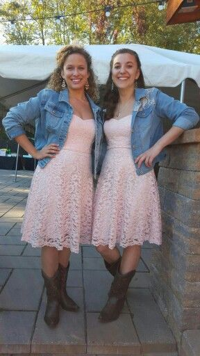 Rustic shabby chic wedding. Bridesmaids. Cowgirl boots from Target and jean jackets with lace dresses from David's Bridal.