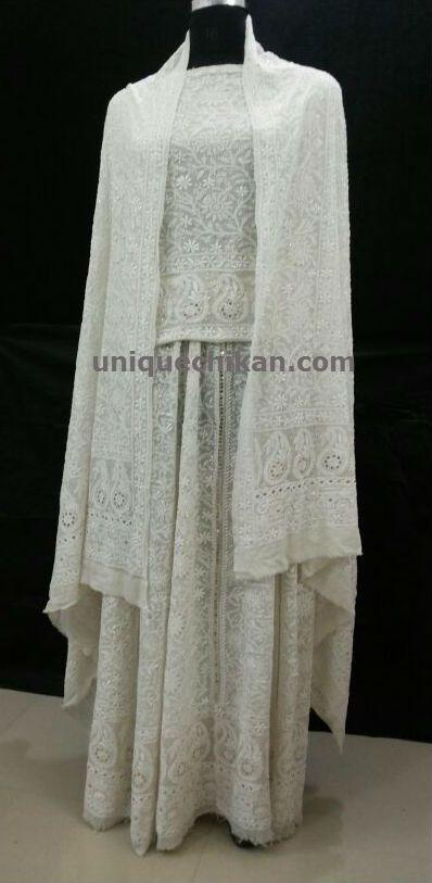 Chikan Heavy Embroidered Lehenga choli, Chikankari wedding Lehenga