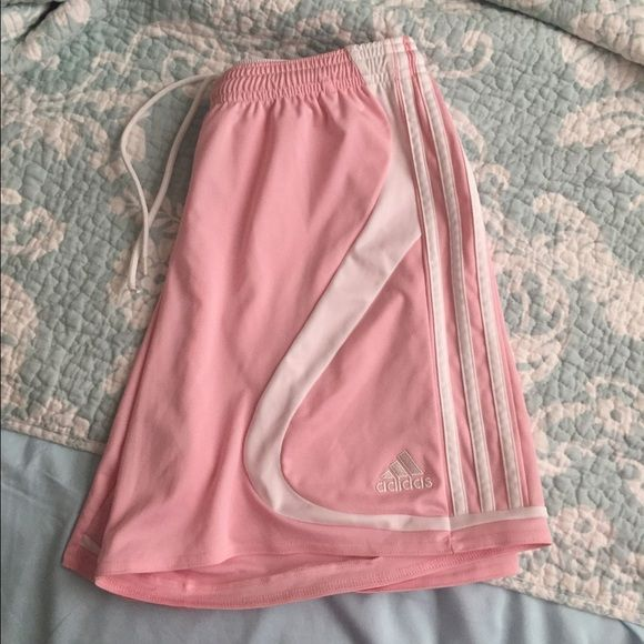 Pink Adidas soccer shorts - Medium Super nice Adidas soccer shorts in a size medium. I only wore these once so they're in 10/10 condition. Has the adjustable waist string like usual and are very lightweight. Adidas Shorts