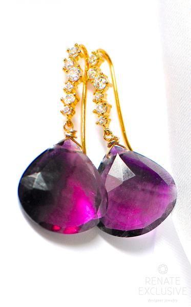 """Luxurious Violet Fluorite Earrings """"Violet Viola"""""""