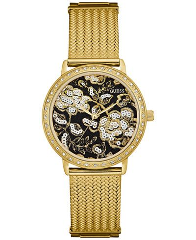 GUESS Women's Gold-Tone Stainless Steel Mesh Bracelet Watch 35mm U0822L2
