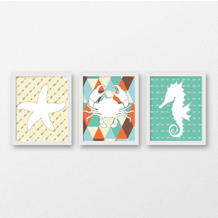 Sea Life Nursery Art Print Set of 3 - Nursery Art - Children's Wall Art- Sea Life Decor. Sea Life Animals on Tribal Print Art Print Set of 3. This will be a great addition to any nursery or perfect for you to gift! - Printed on heavyweight matte archival paper with high quality inks. - Frame and mat not included. PLEASE NOTE: Computer monitors display colors differently than on paper therefor your art print may be slightly different than the colors your see on this screen. PACKAGING All...