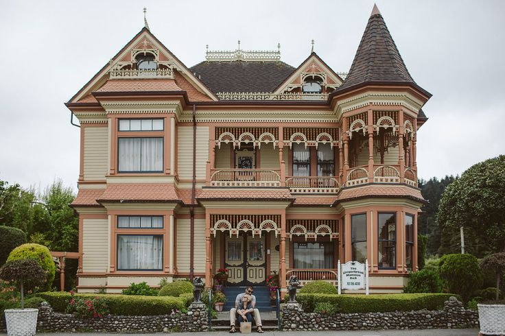 Best Historic Bed and Breakfast wedding venues + honeymoon locations in California | The iconic and incredibly ornate Gingerbread Mansion in the Victorian Village of Ferndale, CA on Northern California's rugged and remote Lost Coast, tucked away between the state's redwood parks.