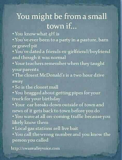 You might be from a small town if... SO TRUE! um yes, this is hendo, allll of it!! lol