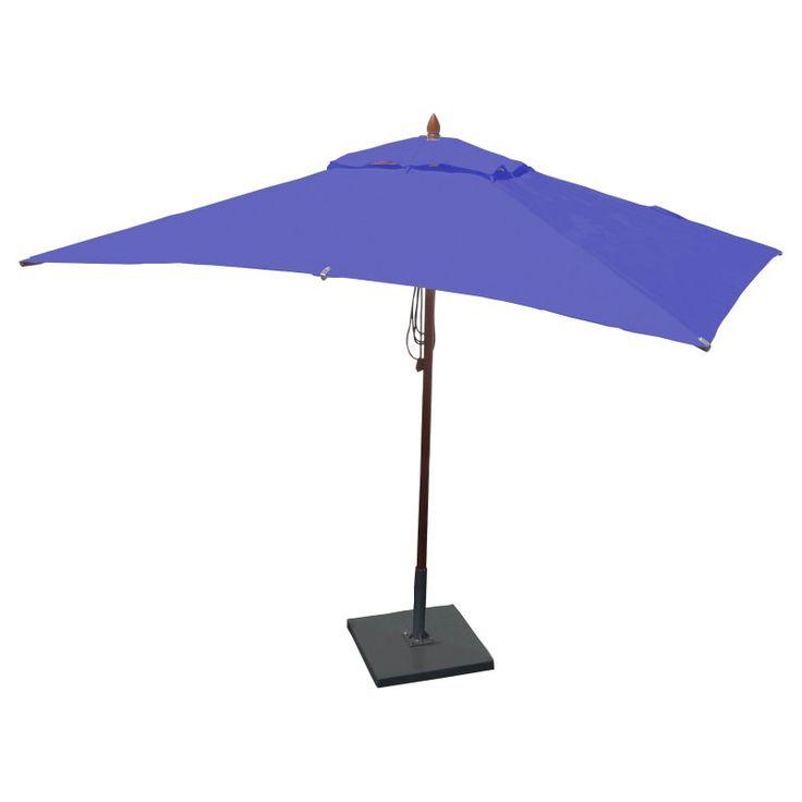 Greencorner 10 x 6.5 ft. African Mahogany Rectangular Patio Umbrella Ocean Blue - RC1065QS2018