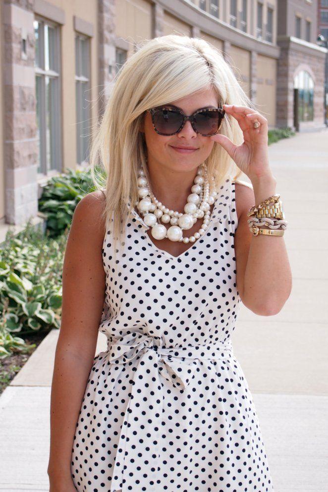 White & Black polka dot dress and big chunky pearls #perfect