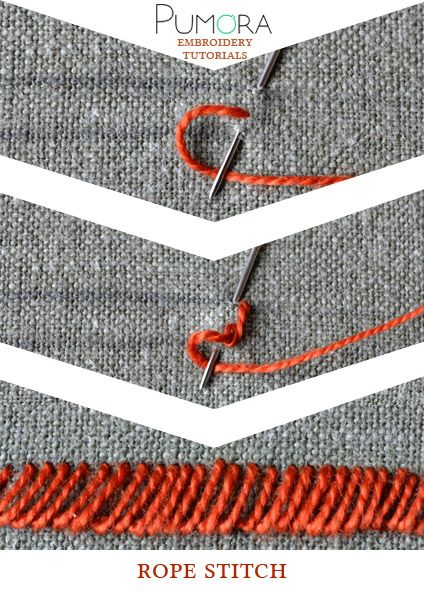 Pumora's lexicon of embroidery stitches: the rope stitch