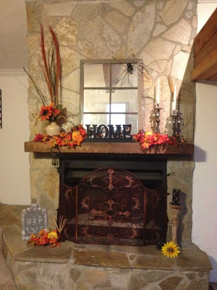 Halloween fall fireplace decor extra tall grass on left for How to decorate your fireplace for halloween