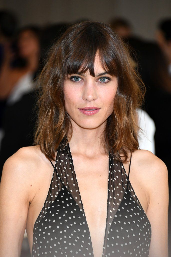 """blended lob w bangs // slightly layered, blended lob with bangs. """"It's cut at shoulder-length with long layers and with bangs falling just below the brow from outer corner to outer corner of the eyes,"""""""