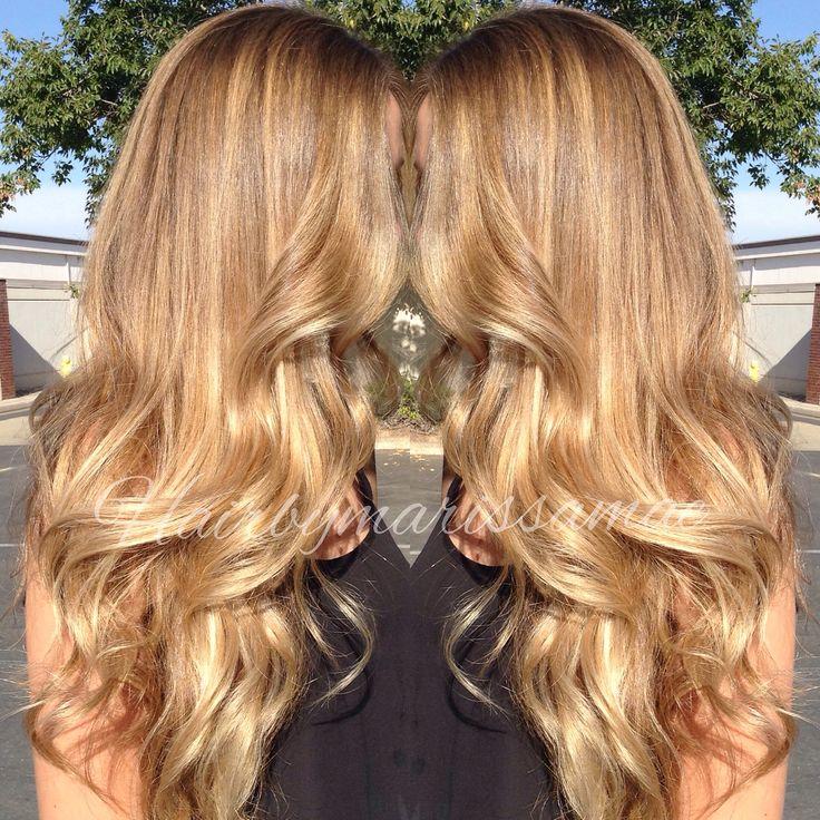 Soft golden blonde balayage highlights