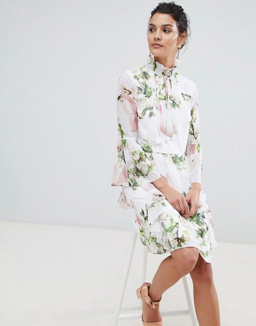 38eae68a1d0 Ted Baker ruffle bow neck dress in harmony floral in 2019