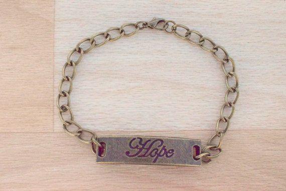 Bronze Hope Bracelet  Bar Bracelet  Secret Message by SkadiJewelry