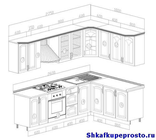 Фото проекта дизайнерской угловой кухни.
