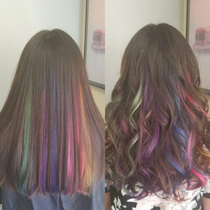 Rainbow hair. Peak a boo highlights.