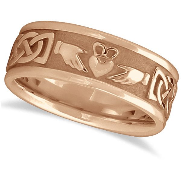 This Mens Claddagh Ring Features Carved Celtic Knot Designs Along A White Gold Band Buy Online For Engagement Rings Necklaces Bracelets And Earrings