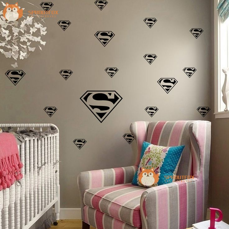 Lovely Diy Superman Hero Removable Vinyl Wall Decal Stickers for Living Room Home Decor Mural Wallpaper Baby Nursery Bedroom