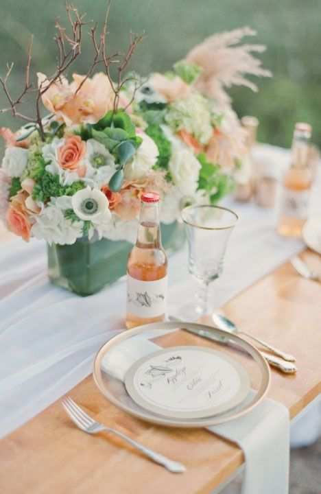 Peach and Mint Table decorations