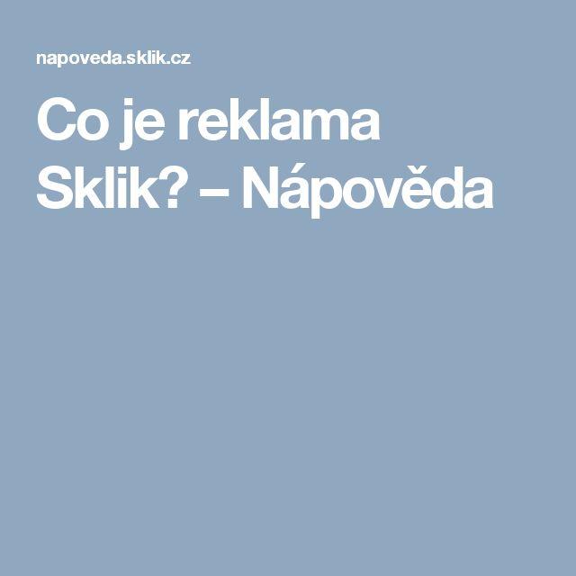Co je reklama Sklik? – Nápověda