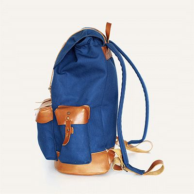 VALVERDE BACKPACK - Imperial Blue // Waterproofed sandwiched Canvas - 100% Cotton + 100% Portuguese vegetable tanned leather.