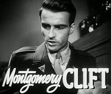 Clift in a trailer screenshot of the 1948 film The Search, for which he was nominated for an Academy Award for Best Actor.