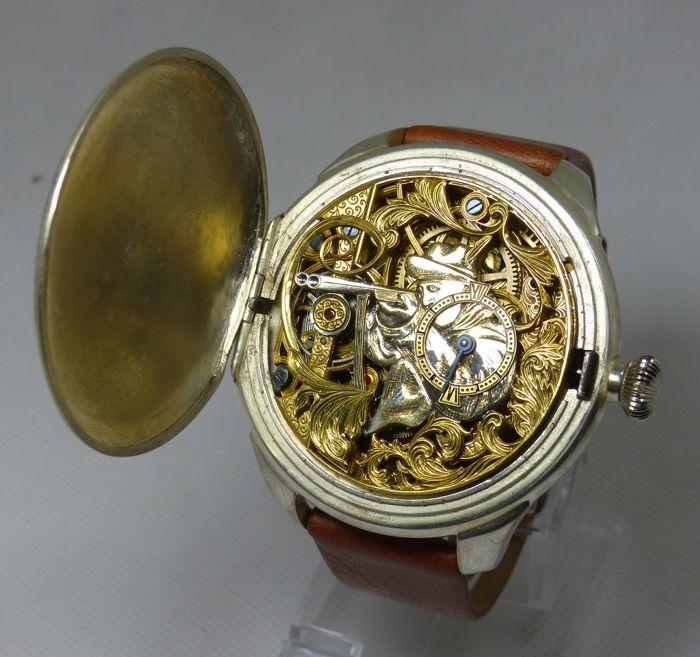 """Hebdomas huwelijk Watch - gegraveerd - 1890  Deze prachtige zeldzame mannen uurwerk beschikt over een knappe verbazingwekkende skelet wijzerplaat met antieke handen. De beweging en de zaak zijn gegraveerd. De Hebdomas naam vaak op geïmporteerde Zwitserse nieuwheid """"8"""" dag gevonden wordt horloges. Geproduceerd van de vroege 1890 tot de jaren 1960. Deze antieke aangepaste Hebdomas is echt een meesterwerk. Het heeft een grote wijzerplaat gezicht met een opening aan de onderkant van de…"""