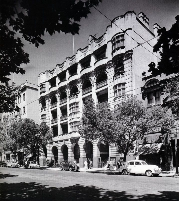 """Many Melbourne mansions on Collins St were demolished to make way for the CRA building which, at a later time was also demolished. The building """"101 Collins St"""" now stands at this site."""
