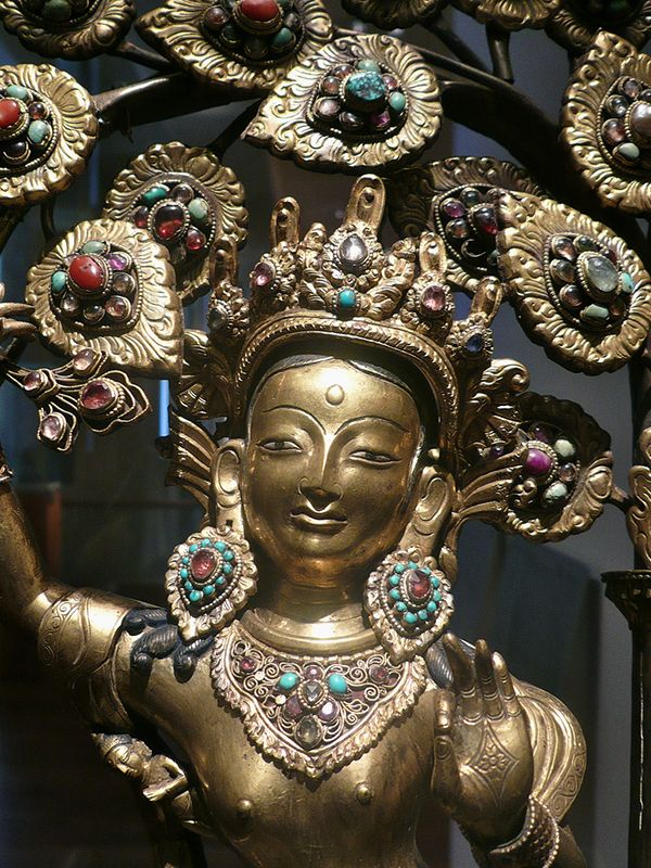 19th century Nepalese statue of Māyā. Queen Māyā of Sakya (Māyādevī) was the birth mother of Gautama Buddha, the sage on whose teachings Buddhism was founded and the sister of Mahāpajāpatī Gotamī, the first Buddhist nun ordained by the Buddha. In Buddhist tradition Maya died soon after the birth of Buddha, generally said to be seven days afterwards and came to life again in a Buddhist heaven, a pattern that is said to be followed in the births of all Buddhas. http://www.guimet.fr/fr/