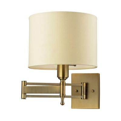 Superb Titan Lighting Pembroke 1 Light Antique Brass Swing Arm Wall Mount