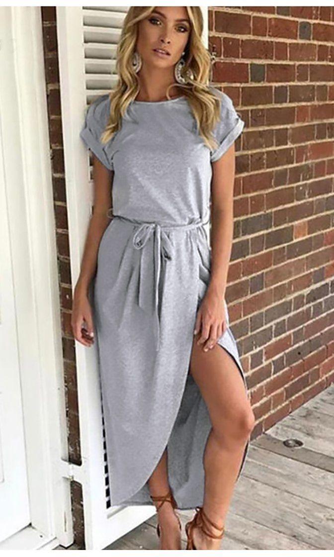 5e2c09f6374 Drift Ashore Light Grey Short Sleeve Crew Neck Wrap Skirt Tie Belt Casual  Maxi Dress