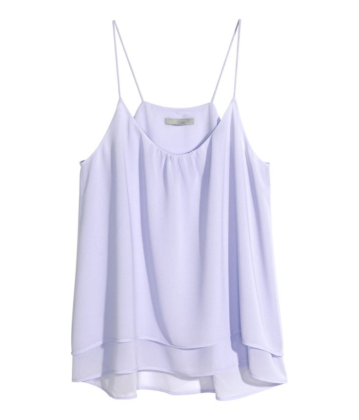 Airy light purple spaghetti strap top with decorative gathers & layered fabric tiers. | H&M Pastels