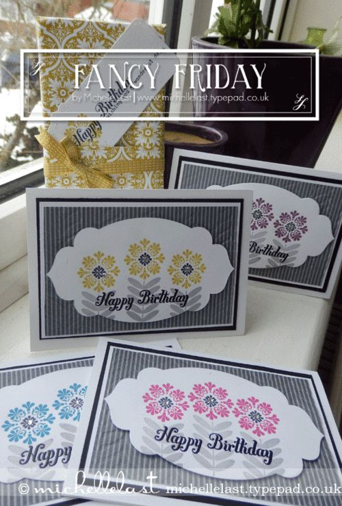Michelle has created a fabulous set of cards using Madison Avenue (SAB), Bring on the Cake, Basic Gray dsp, Apothecary Accents framelits, & Vine Street embossing folder (SAB).