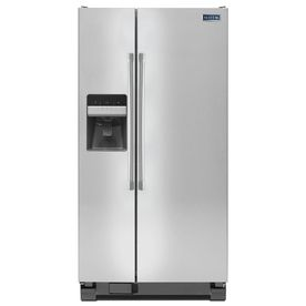 Maytag 21.3-cu ft Side-By-Side Refrigerator with Single Ice Maker (Stainless Steel)  door off